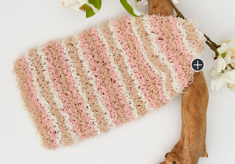 Easy Striped Knit Scrubby Mitt