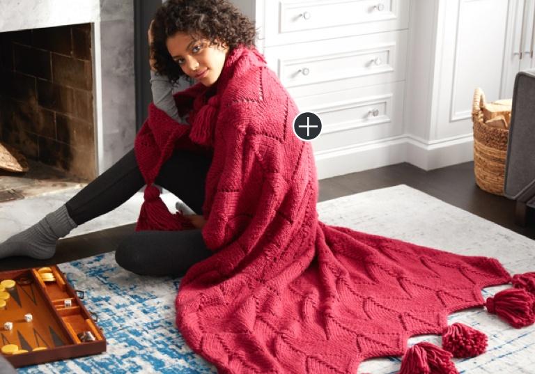 Easy Horseshoe Lace Tasseled Knit Blanket