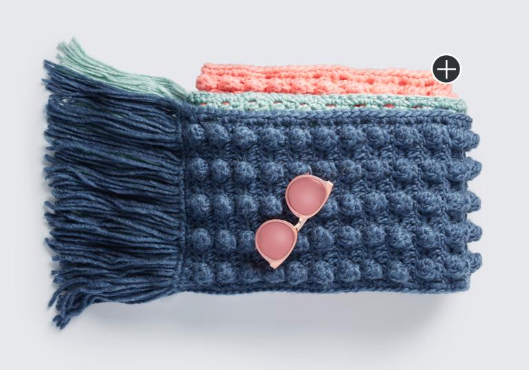 Easy Crochet Color Block Bobble Scarf
