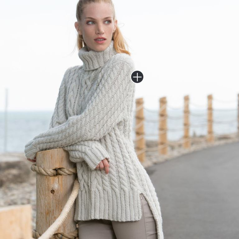 Intermediate Gayle's Split Hem Cable Knit Pullover