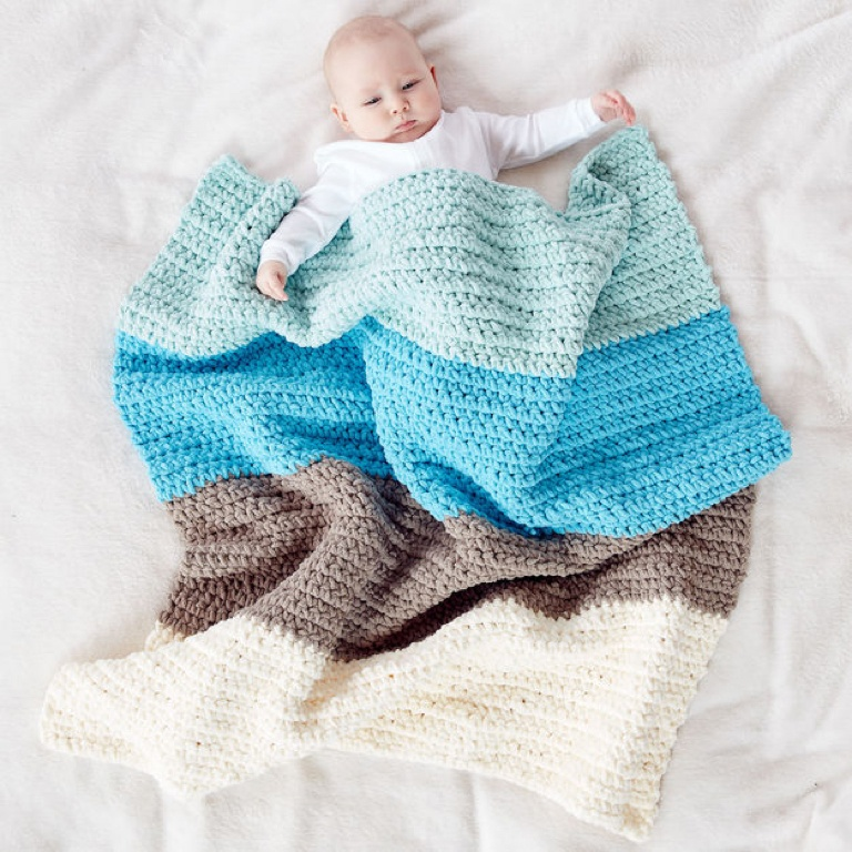 Beginner Colorblock Crochet Blanket