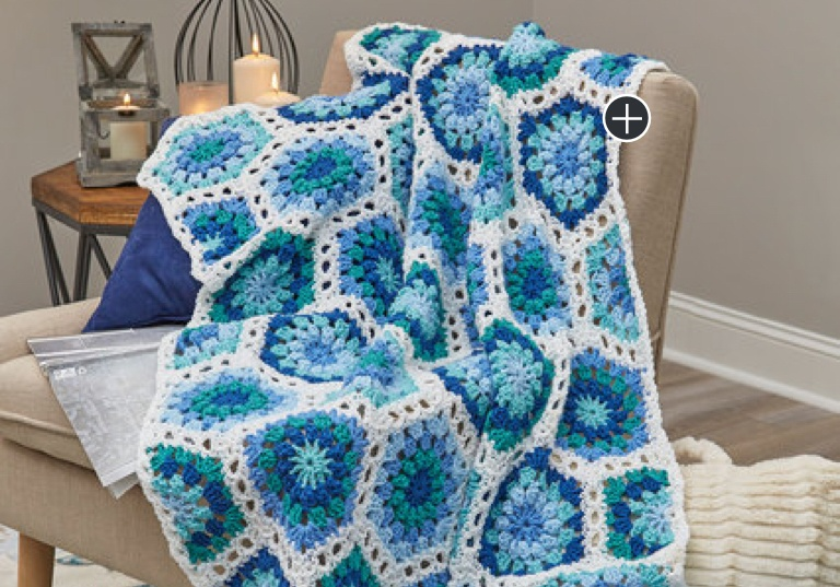 Easy Crochet Hexagon Blues Throw