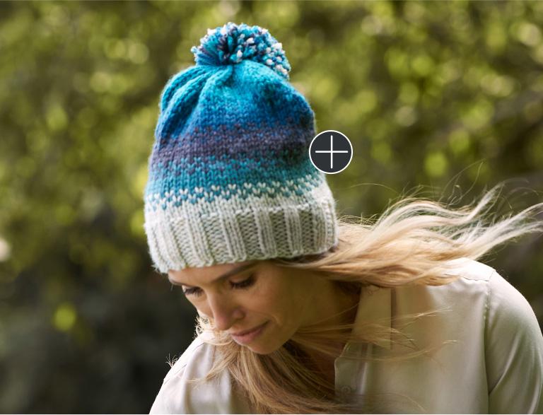Easy Caron Fading Shades Knit Hat