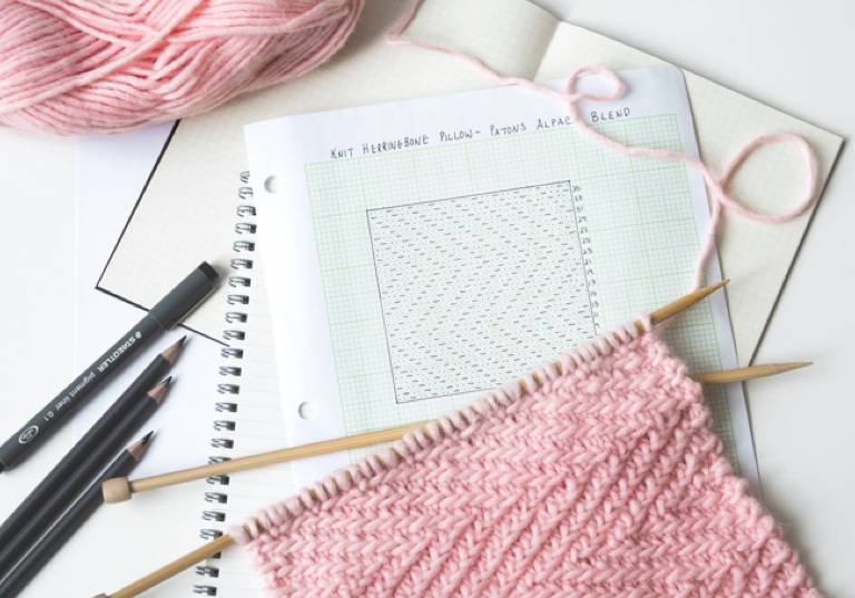 Easy Knit Herringbone Pillow