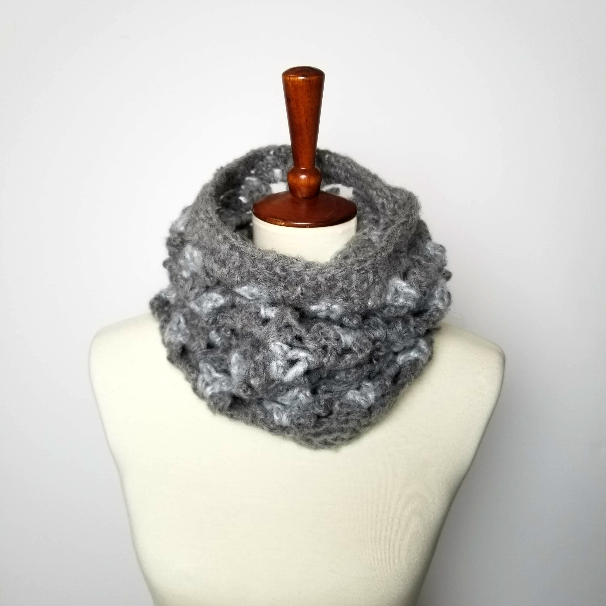 Patons Nors Modern Picots Cowl in color gray and black on mannequin