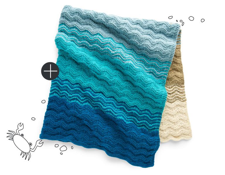 Caron Seaside Sunset Knit Blanket