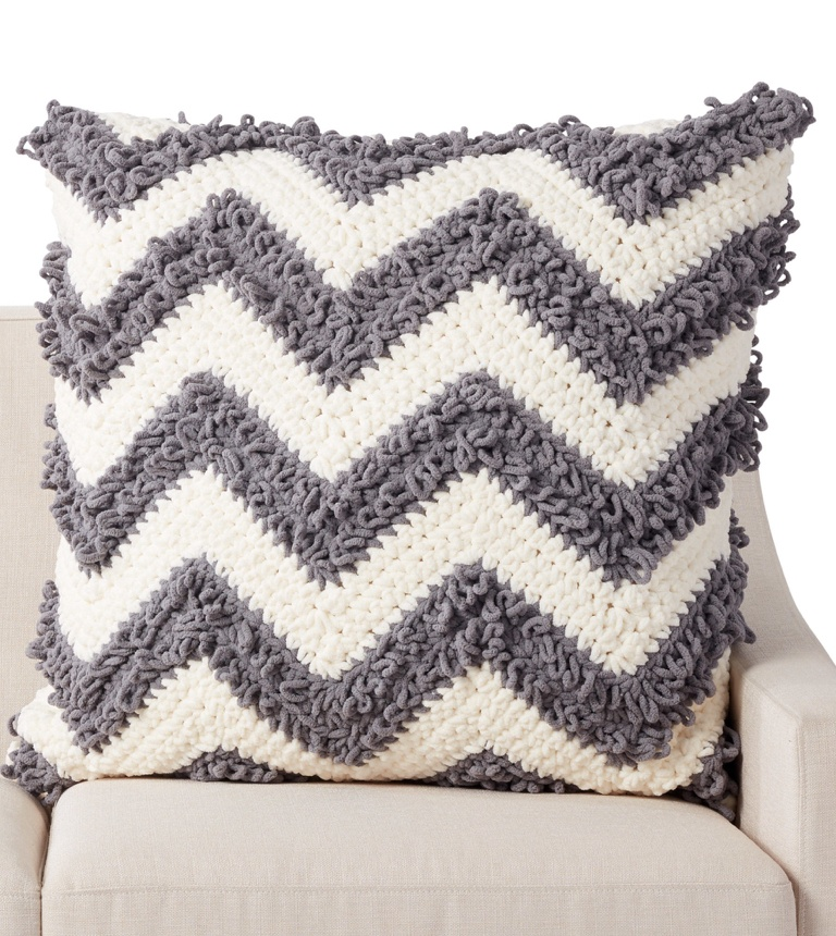 Intermediate Loop Stitch Chevron Crochet Pillow
