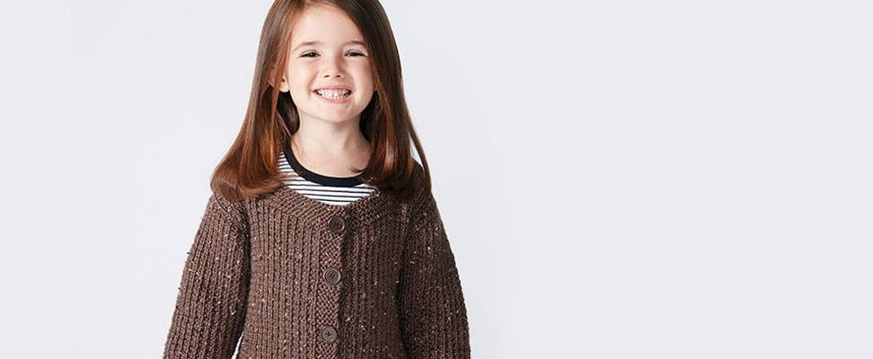 Textured Kids Cardigan in Caron  Simply Soft Tweeds