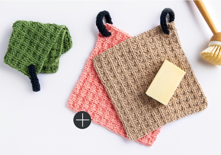 Knit lily waffle dishcloth