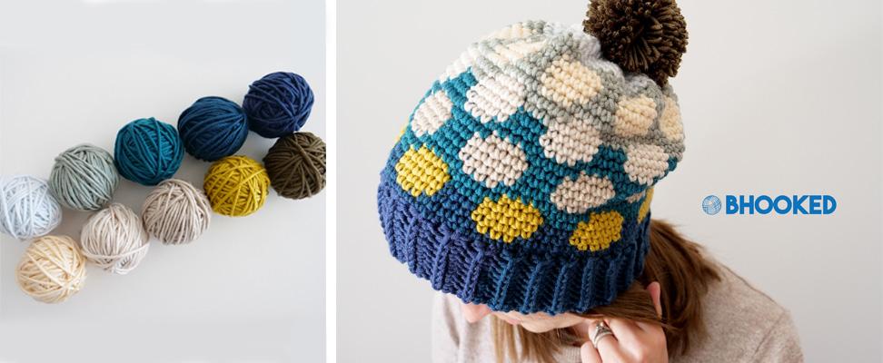 Polka Dotty Crochet Hat in Caron x Pantone yarn