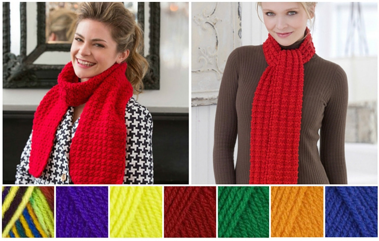 Berry Stitch Scarf, a free crochet pattern by Michele Maks (at left) and Heartwarming Knit Scarf, a free knitting pattern by Julie Farmer (at right).