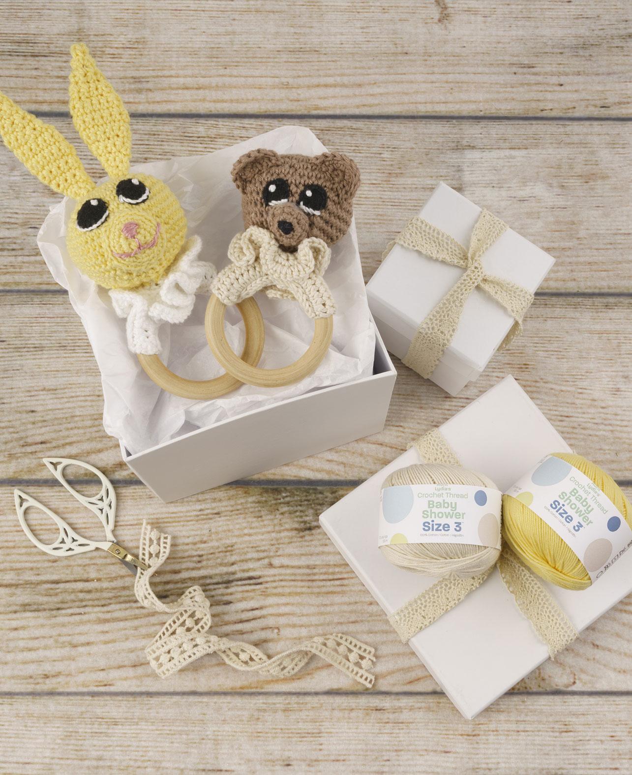Aunt Lydia's Bunny & Bear Teething Rings