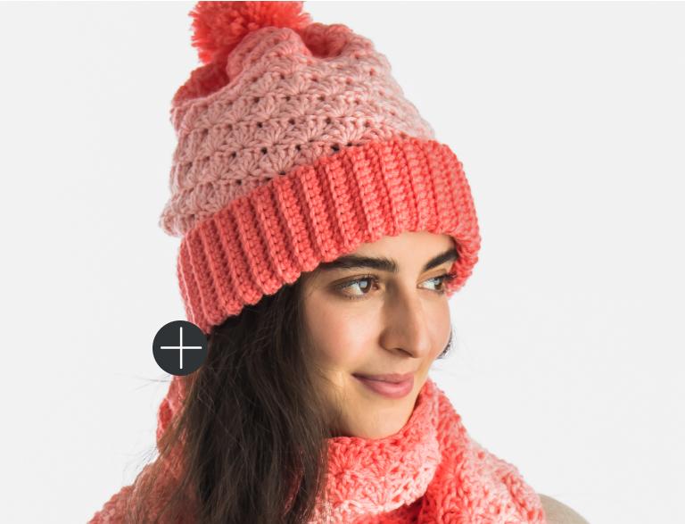 Intermediate Red heart Crochet Shell Stitch Hat scarf