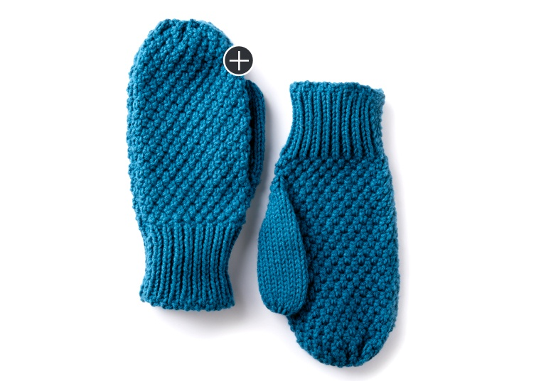 Easy Textured Family Knit Mittens