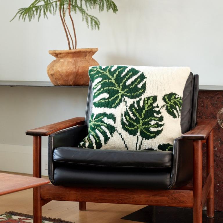 Intermediate Tropical Leaf Knit Pillow