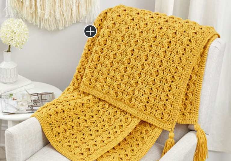 Intermediate Golden Waves Crochet Throw