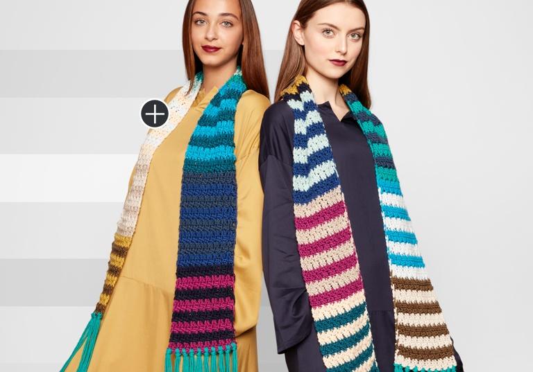 Easy Crochet Stripe Scarf