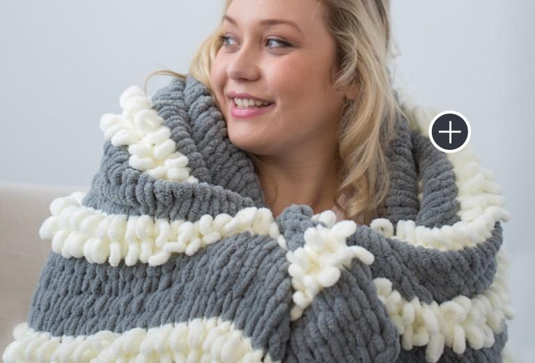 Bernat Blanket-EZ Loopy Stripe Blanket