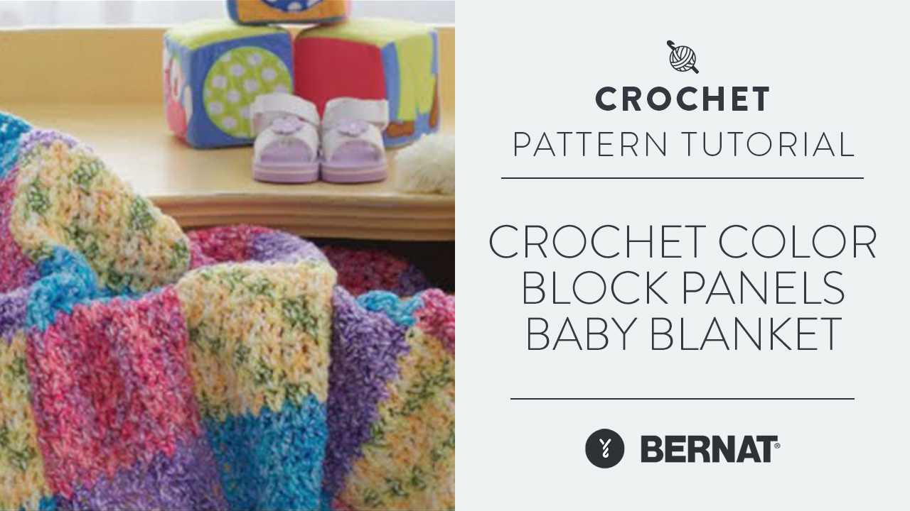 Crochet Color Block Panels Baby Blanket