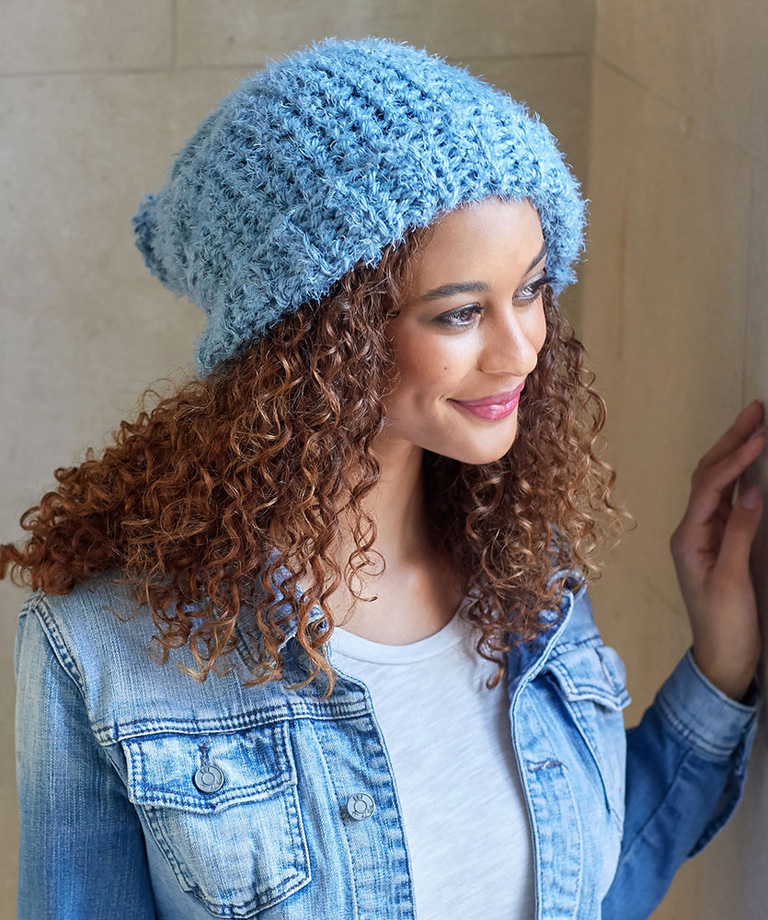 Simply Slouchy Crochet Hat Free Crochet Pattern LW6000