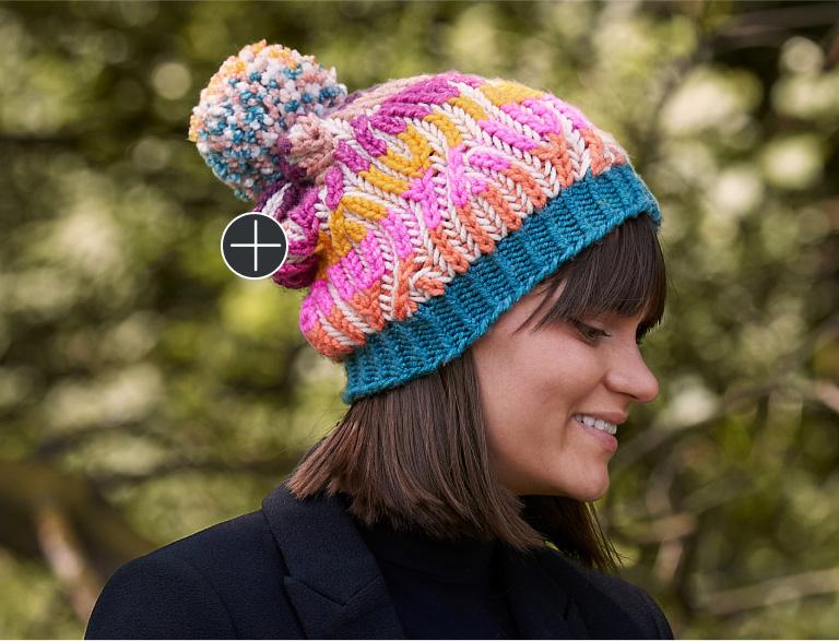 Intermediate Caron Brioche Cables Knit Hat