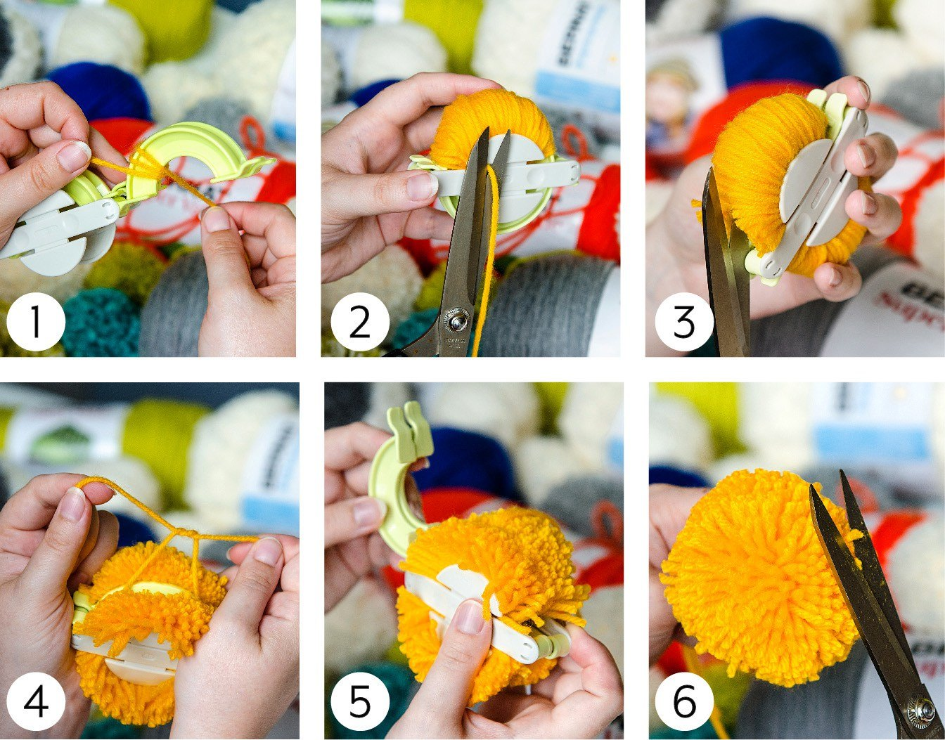 Making a Pompom Steps 1 - 6 Images