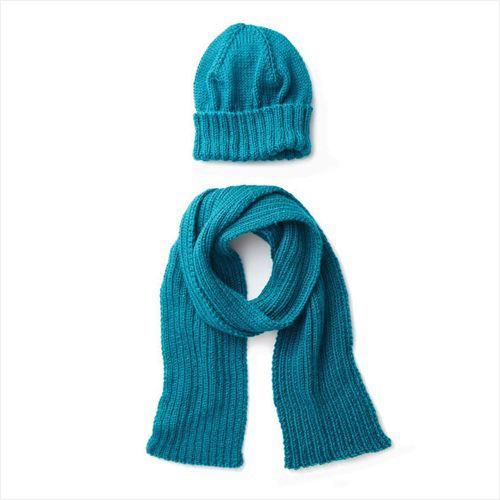 Free Knit Pattern - Men's Basic Hat & Scarf Set in Caron Simply Soft yarn