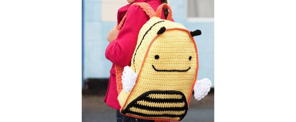 Back to School Busy Bee Backpack in Lily Sugar'n Cream yarn
