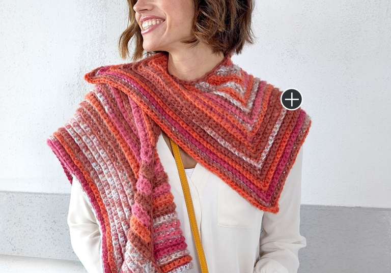 Intermediate Crochet Sunset Mitered Shawl