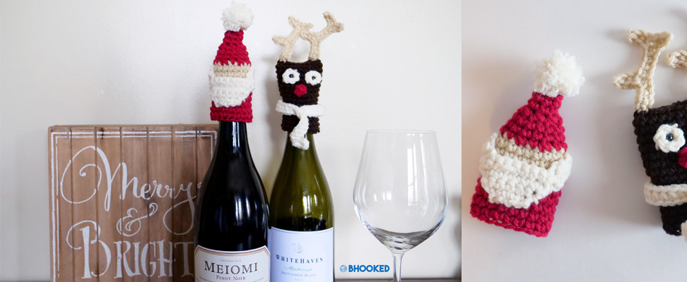 30 Minute Holiday Crochet Bottle Toppers