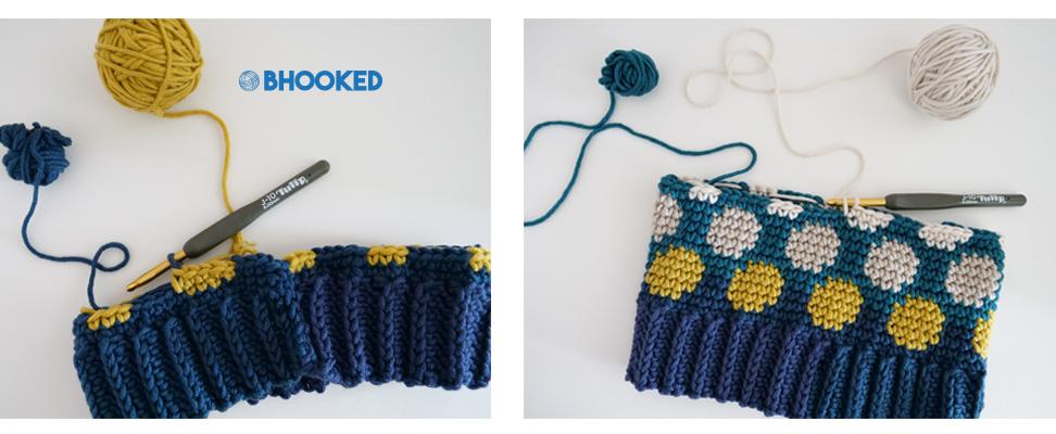 Work in Progress of Caron x Pantone Polka Dotty Crochet Hat pattern
