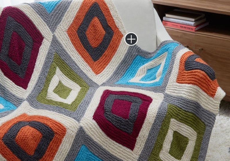 Easy Color Blocks Knit Throw
