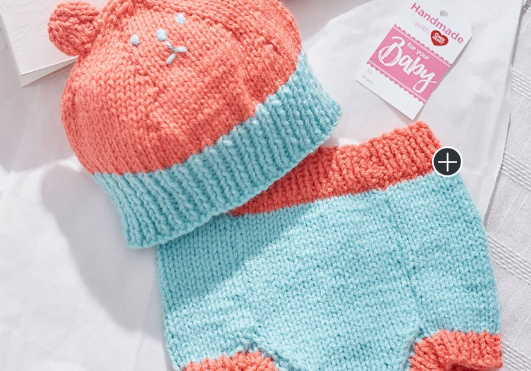 Intermediate Knit Bear Hat & Diaper Cover