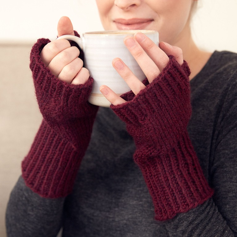 Intermediate Fingerless Knit Gloves