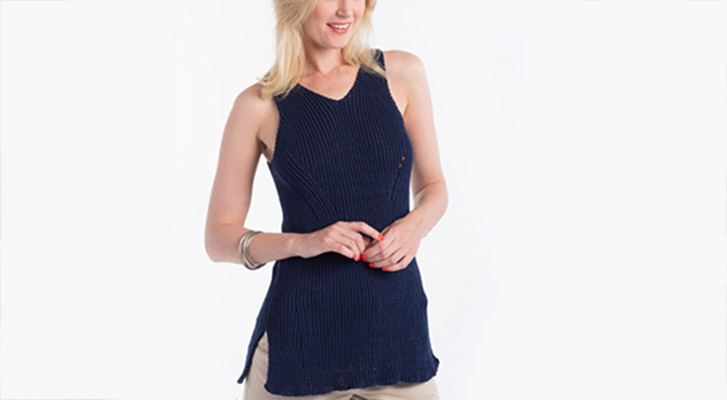 Knit Shifting Rib Tank In Patons Grace