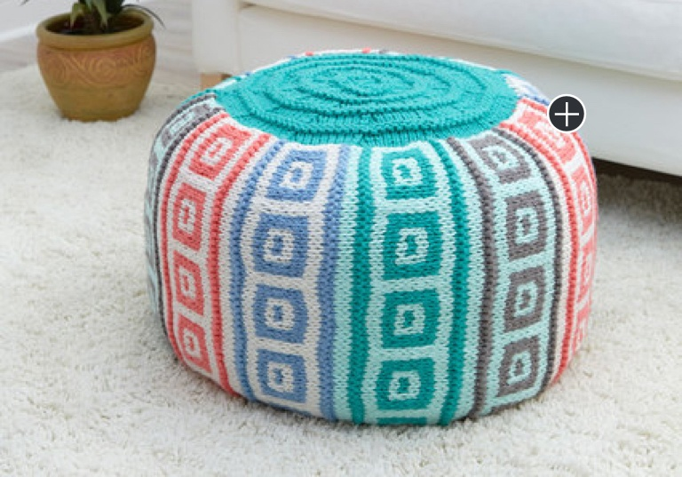 Easy Knit Hexagon Blues Ottoman