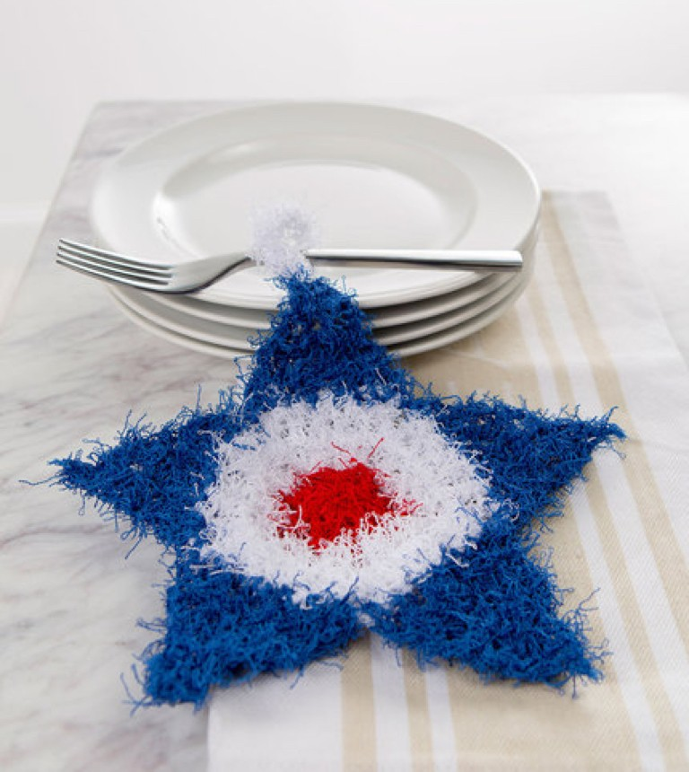 Easy Knit and Crochet Patriotic Scrubby