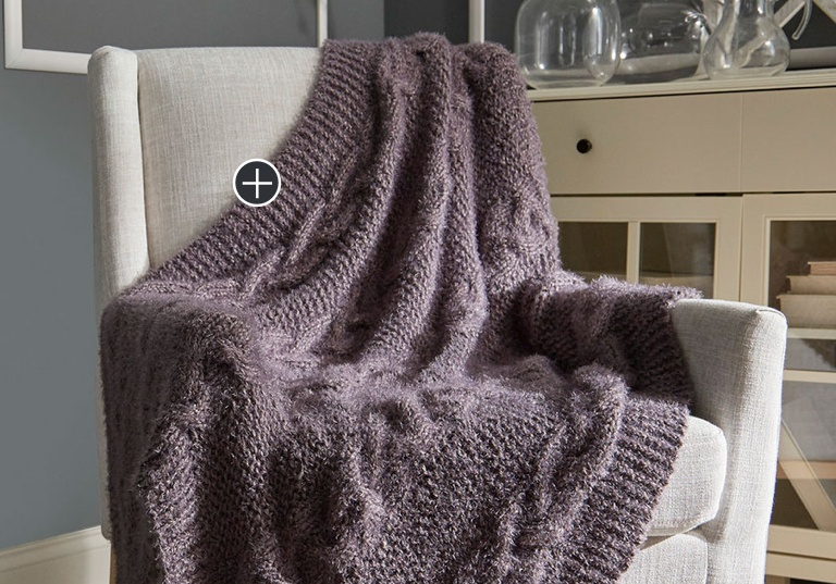 Intermediate Braided Cable Knit Throw