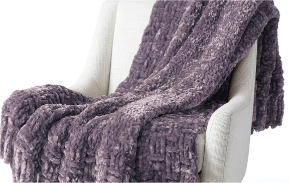 Bernat Cozy Knit Bias Blanket