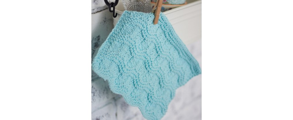 Ripple Stitch Dishcloth crocheted in Lily Sugar'n Cream yarn
