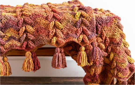 Bernat Waves & Leaves Crochet Blanket