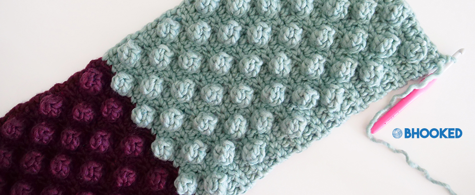 Close Up of Crochet Bobble Stitches using Bernat Roving yarn