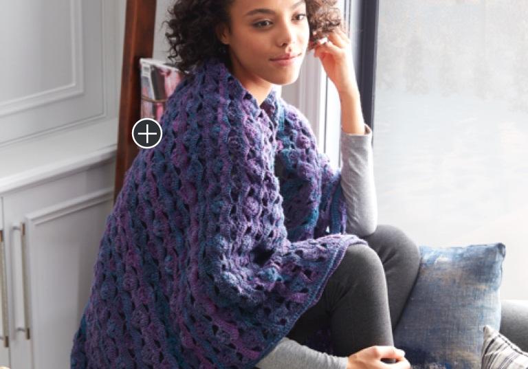 Intermediate Wrapped In Waves Crochet Blanket Shawl