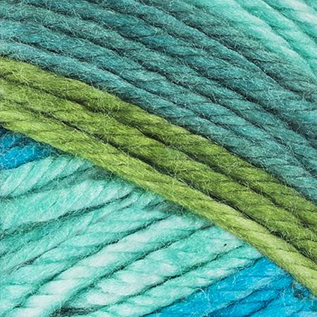 E857 Red Heart Soft Essentials Stripe yarn in 7935 Jungle Stripe