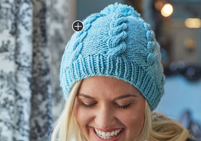 Intermediate Knit Cabled Pompom Hat