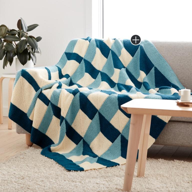 Intermediate Shadowbox Knit Blanket