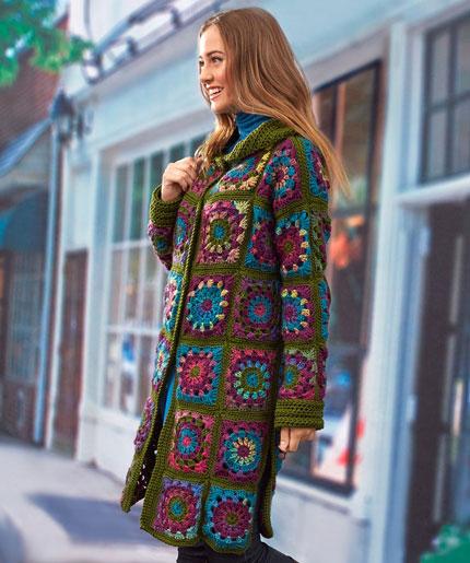 Sweater Coat in Grannies Free Crochet Pattern LW5303