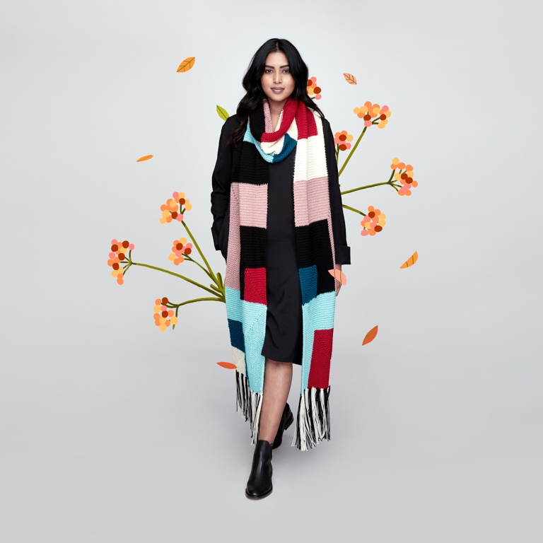 Easy Here and There Mitered Knit Scarf