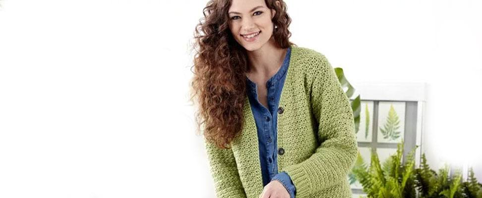 Adult Crochet V-Neck Cardigan in Caron Simply Soft