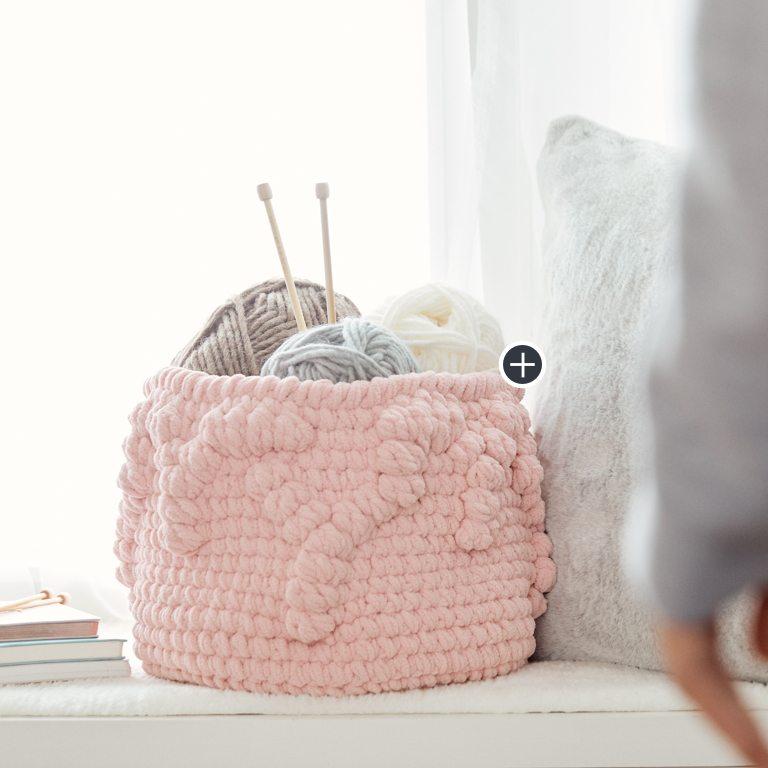 Easy Crochet Bobble Border Basket